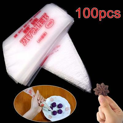 100 x Plastic Disposable Icing Piping Frosting Pastry Bag Cake Sugarcraft DIY LN