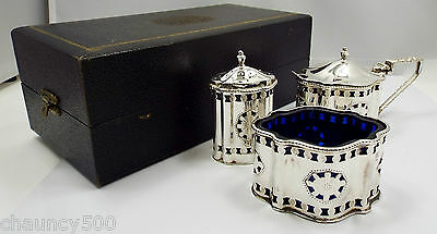 Vintage Dublin Sterling Silver 3 pc Condiment Set with Blue Inserts, JM Co 1967