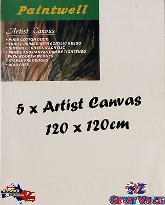 5 x Blank Artist Stretched Canvas 120X120cm Heavy Duty 38mm Thick - SCS-4848B