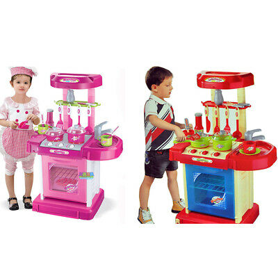 New Portable Pink Electronic Kids Kitchen Cooking Girl Toy Cooker Play Set UK