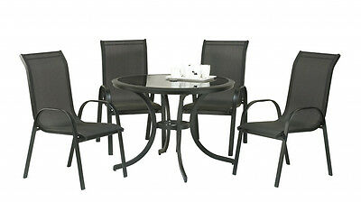 SupaGarden Stacking Chair Set 5 Piece 4 Textilene stacking chairs