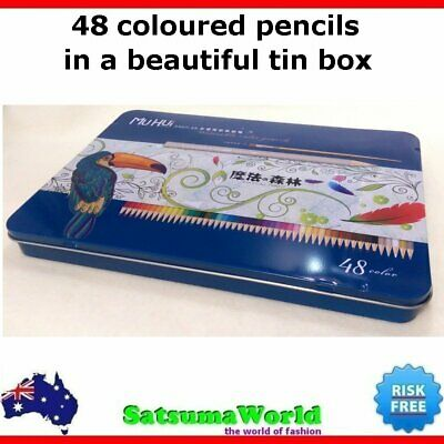 48 TIN BOX COLOURED PENCILS SCHOOL student Stationery ART SUPPLIES COLOUR PENCIL