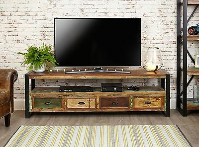 Urban Chic reclaimed wood furniture large widescreen TV cabinet stand unit