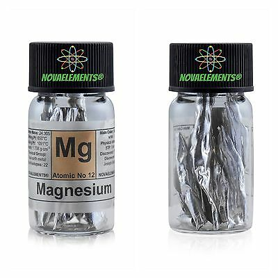 Magnesium metal element 12 Mg flakes 99,9% incredibly shiny labeled glass vial