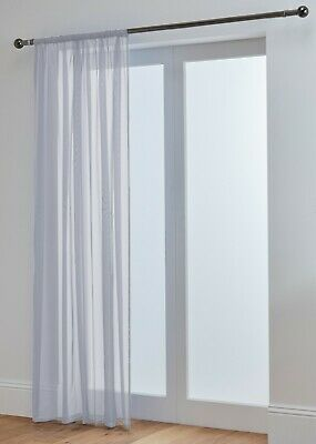 """Lucy Extra Long Silver Grey Voile Slot Top Curtain Panel 118"""" (300cm) 3m Drop"""