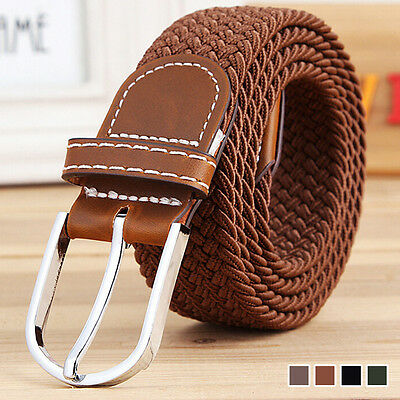Men's Stretch Braided Elastic Woven Canvas Buckle Belt Waistband Waist Straps