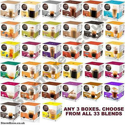 3 Boxes Of Nescafe Dolce Gusto Coffee Capsules Pods. All 33 Blends