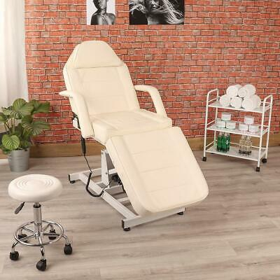 Beauty Salon White Electric Massage Couch Furniture Set With Stool & Trolley