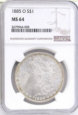 1885 O Morgan Silver Dollar NGC MS 64 - Gold Tone around Rim