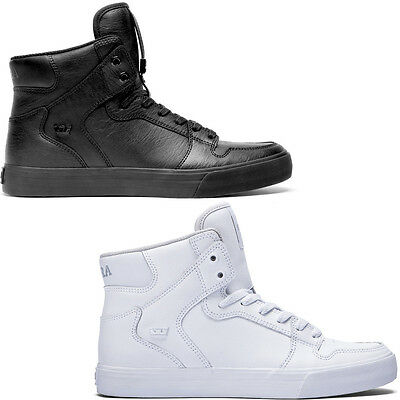 Scarpe Supra Vaider Sneakers White Footwear Shoes Scarpa High Hi Leather New