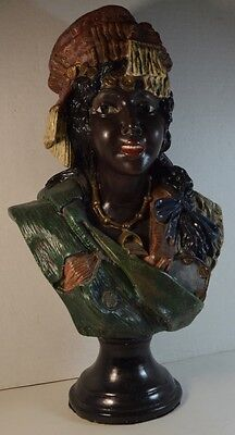 Vintage Composition Bust of an African-Nubian Young Woman