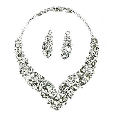 Rhinestone Crystal Earrings and Necklace Costume Bridal Jewelry Sets Wedding PK