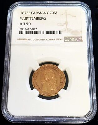 1873 F Gold German State Wurttemberg 20 Mark Karl I Ngc About Uncirculated 50