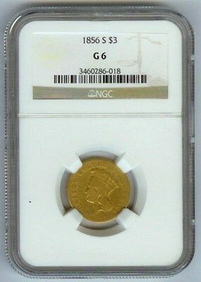 "1856 S United States $3 Dollar Indian Princess Head Gold Coin Ngc Good 6 ""rare"""
