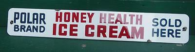 Porcelain Polar Bear Brand Ice Cream General Store Door Push Advertising Sign