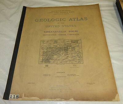 1905 USGS GEOLOGIC FOLIO No. 118/GREENVILLE Quadrangle/3 Full Page Maps/TN, NC