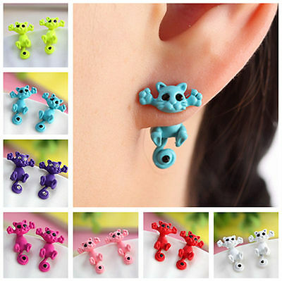 Kitten Multiple Color New Ear Jewelry Cat Stud Earrings Women Trendy Charm 3 D