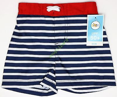 NEW Baby Boy's Swim Trunks NWT Size 6-9M Month Red White Blue Shorts Toddler