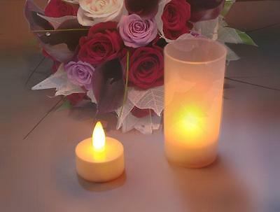 30 Led Flickering Tealight Candles &  Votive Holders With Battery For Wedding