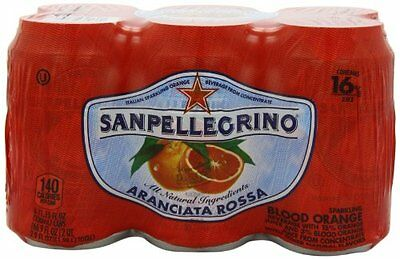 San Pellegrino Sparkling Fruit Beverages, Aranciata Rossa/Blood Orange cans of