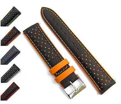 Genoa Genuine Padded Leather Layered 2-Colour Watch Strap 18mm 20mm 22mm