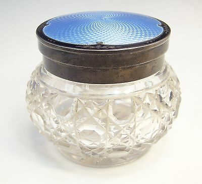 Antique Hallmarked English Crystal .925 Sterling Guilloche Enamel Powder Jar