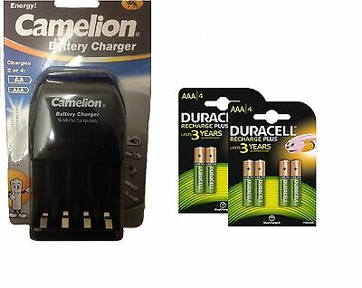 AA/AAA BATTERY CHARGER 8 x AAA  DURACELL RECHARGEABLE BATTERIES LR03 R03