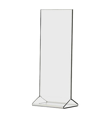 "4""W x 9""H Clear Acrylic Double-sided Table Sign Holder, Table Tent (Pack of 12)"