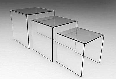 "Set of 3 Clear Acrylic Display Riser 5"", 6"", 7"""