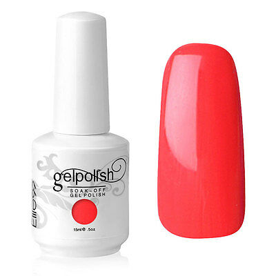 Elite99 Esmalte de Uña Gel Color Rojo Coral Soak-off UV LED Manicura Arte 15ml