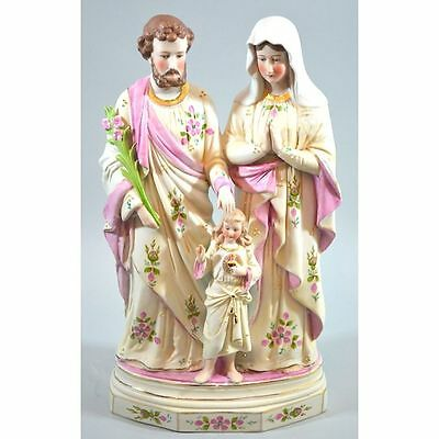 Antique German Hand Painted Bisque Statue of the Holy Family, Joseph Maria & ...