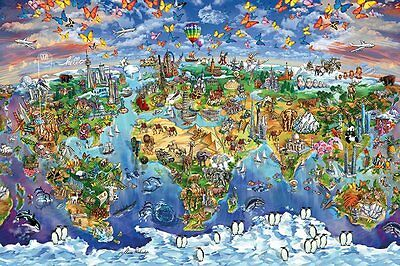 (LAMINATED) MARIA RABINKY - WORLD WONDERS MAP POSTER (61x91cm)  NEW WALL ART