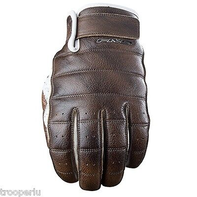 Five Gloves California Men's Motorcycle Gloves Brown Leather Palm Gfc013-7