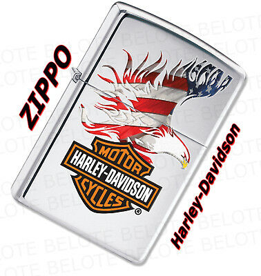 Zippo Harley Davidson Flag Eagle Chrome Lighter 28082