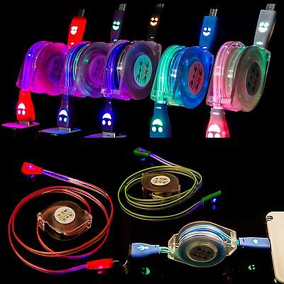 Retractable LED Micro USB Charging Sync Cable Charger Cord for Cellphone Android
