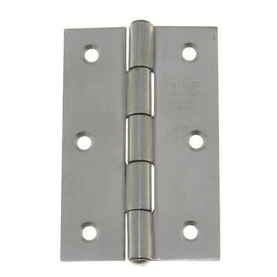 Qty 5 Pair - Fixed Pin Hinge 75mm x 50mm x 1.5mm Stainless SS Door Butt 6 Hole