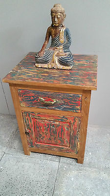 VINTAGE Bali Bedside Cupboard Lamp Side Table Recycled Timber - COLOURED