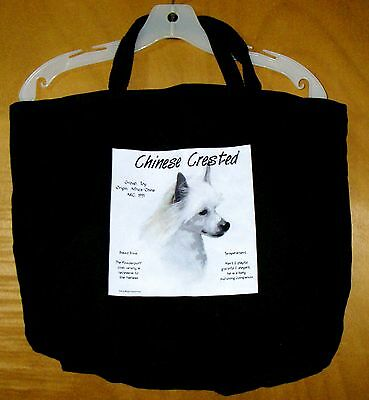 "CHINESE CRESTED ""History of the Breed"" Black Cotton TOTE BAG 20""x14.5""x4.5"