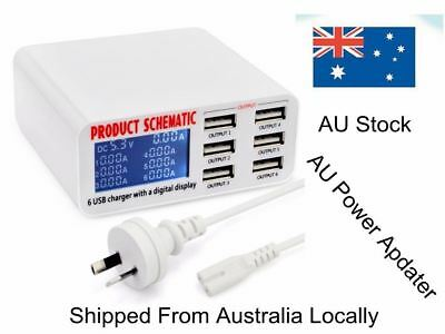 6 Port 6A Auto Detect USB Rapid Fast Travel Wall Charger Station HUB LCD Display