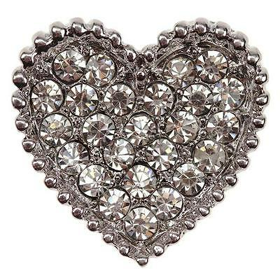 LOVE HEART CRYSTAL Diamante Silver Shoe Clips Crystal Bridal Rhinestone Bag