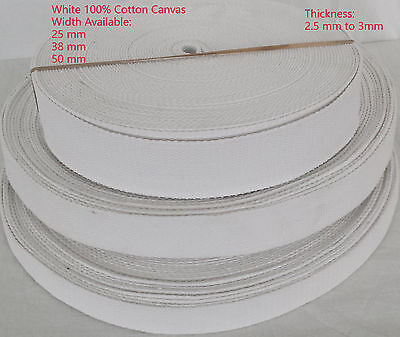 White Color Canvas thick Cotton Webbing DIY Belt Fabric Strap Bag Making WW2