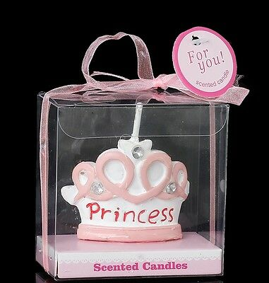 PRINCESS Tiara Candle Pink with Rhinestones in Gift Box Party Favour Cake Topper