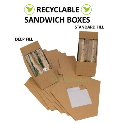 Kraft Cardboard Sandwich Wedges ~ Cafe Takeaway Box ~ Wedge Packs ~ Select Size