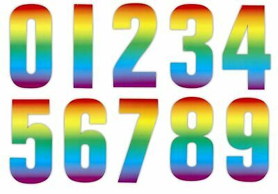 High Visible Rainbow Wheelie Bin Reflective Number Stickers Home Dustbins Cafe