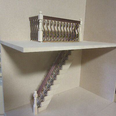 Banister Set. (no stair treads) Mahogany Handrail  Dolls House item   DHD74