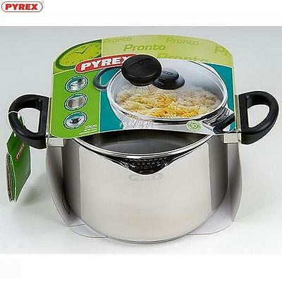 Pyrex Pronto Stainless Steel Stockpot 22Cm Food Cookware Kitchen Home New