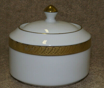 Centurion Collection #9414 Pure Gold - White with Gold Sugar Bowl with Lid