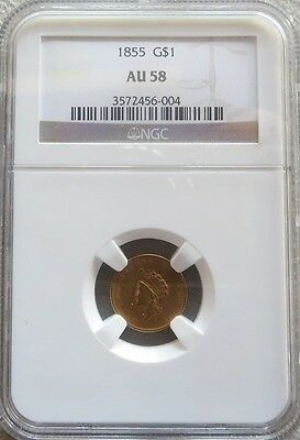 1855 Gold Type Ii Princess Head $ 1 Dollar Coin Ngc About Unc 58