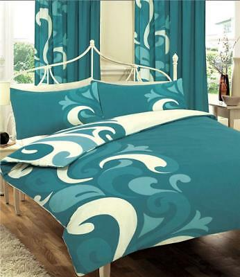 KING SIZE DUVET SET -  Teal printed quilt cover & pillow cases bed set