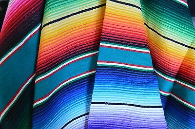 "Mexican Blanket Acrylic Serape in ""DEEP TEAL"" PREMIUM & Handwoven Yoga Throw"